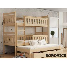 Patrová postel s přistýlkou KORS 80x180 cm, masiv borovice/barva:..
