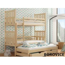 Patrová postel s přistýlkou JANEK 80x180 cm, masiv borovice/barva:..