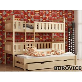 Patrová postel s přistýlkou LABOO 80x180 cm, masiv borovice/barva:..