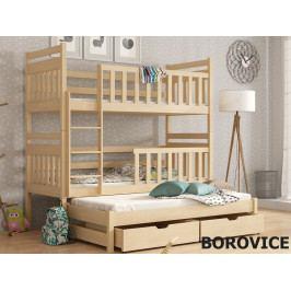 Patrová postel s přistýlkou KLARA 80x180 cm, masiv borovice/barva:..