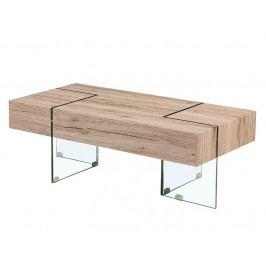 PROSPER konferenční stolek, vzor dřeva/sklo