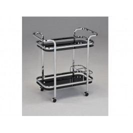 ELON servírovací vozík, černé sklo/chrom