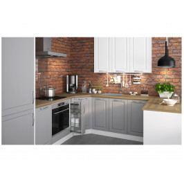 Extom Rohová kuchyně EMPORIUM 120/475 cm, korpus bílý, dvířka grey stone + white