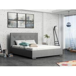 Čalouněná postel SOFIE 1 180x200 cm s roštem a matrací, šedá látka