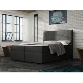 Čalouněná postel BAX 160x200 cm s matrací, šedá látka