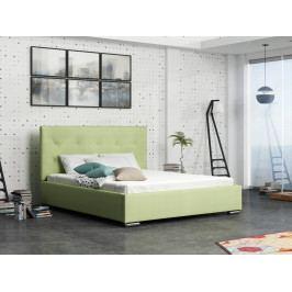 Čalouněná postel SOFIE 1 180x200 cm s roštem a matrací, zelená látka
