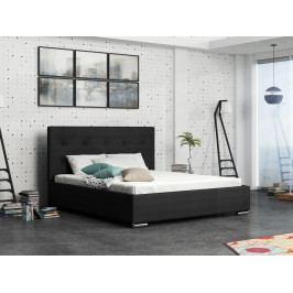 Čalouněná postel SOFIE 1 160x200 cm s roštem a matrací, černá látka