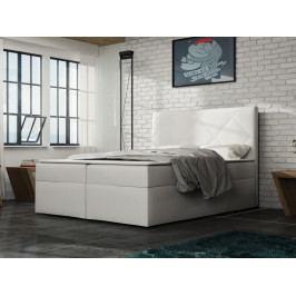 Čalouněná postel BAX 180x200 cm s matrací, bílá látka