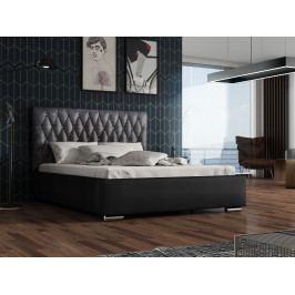 Čalouněná postel TOKIO 140x200 cm s roštem a matrací, černá látka/černá ekokůže