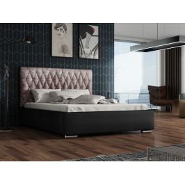 Čalouněná postel TOKIO 140x200 cm s roštem, lanýžová látka/černá ekokůže