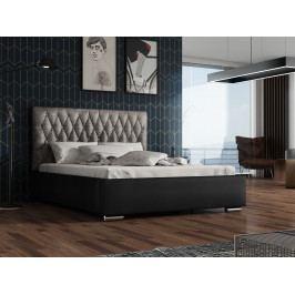 Čalouněná postel TOKIO 130x200 cm s roštem a matrací, stříbrná látka/černá ekokůže