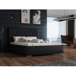 Čalouněná postel TOKIO 140x200 cm s roštem a matrací, látka námořnická modř/černá ekokůže