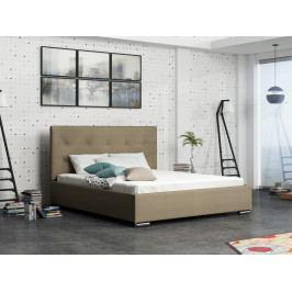 Čalouněná postel SOFIE 1 180x200 cm s roštem a matrací, béžová látka