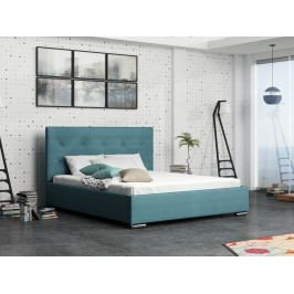 Čalouněná postel SOFIE 1 180x200 cm s roštem a matrací, modrá látka