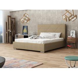Čalouněná postel SOFIE 5 160x200 cm s roštem a matrací, béžová látka
