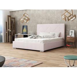 Čalouněná postel SOFIE 5 160x200 cm s roštem a matrací, růžová látka