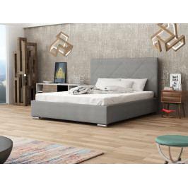 Čalouněná postel SOFIE 5 180x200 cm s roštem a matrací, šedá látka