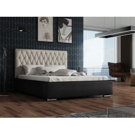 Čalouněná postel TOKIO 140x200 cm s roštem, krémová látka/černá ekokůže