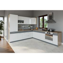 Bog Fran Rohová kuchyně MODENA 275x300, bílý lesk/grafit mat