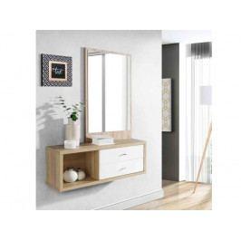 ALCANO, předsíňová stěna ALCD01, dub bianco/bílý lesk DOPRODEJ