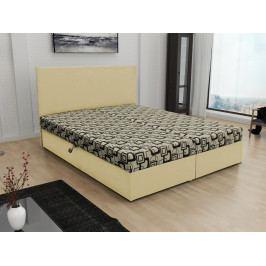 Čalouněná postel JERRY 160x200, béžová látka se vzorem/krémová ekokůže
