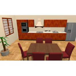 Kuchyně MELOS 480 cm, korpus wenge, dvířka bříza orange