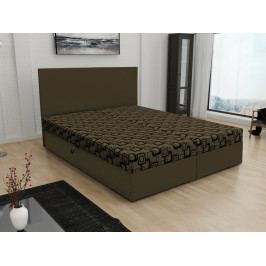 Čalouněná postel JERRY 140x200, hnědá látka se vzorem/hnědá ekokůže