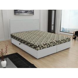Čalouněná postel JERRY 140x200, béžová látka se vzorem/bílá ekokůže