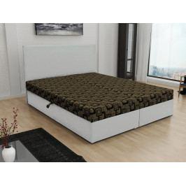 Čalouněná postel JERRY 140x200, hnědá látka se vzorem/bílá ekokůže