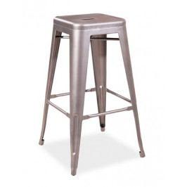 Barová kovová židle LONG, nerezová ocel