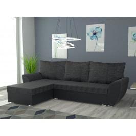 Rohová sedačka IRIS univerzální, černá látka/černá ekokůže