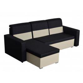 Smartshop Rohová sedačka CARLO, černá látka/smetanová ekokůže DOPRODEJ