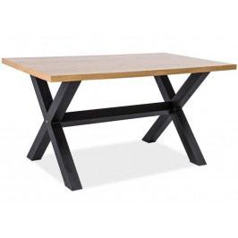 Jídelní stůl XAVIERO 150x90, dub masiv/černá