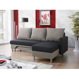 Rohová sedačka PADY 3 pravá, černá látka/světle šedá látka