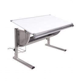 Polohovatelný psací stůl, bílý