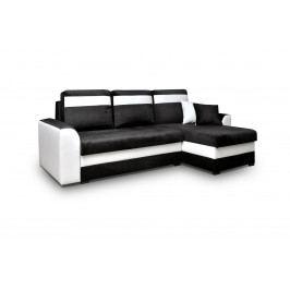 Smartshop Rohová sedačka MARCO 5, univerzální, černá látka/bílá ekokůže