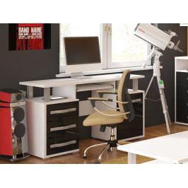 ANGEL PC stůl 1D3S, bílá/černý lesk