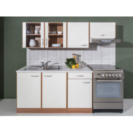 Kuchyně MAJKA 150/210 cm, korpus olše americká/dvířka vanilka