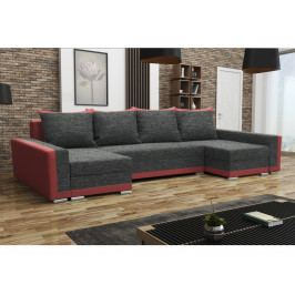 Smartshop Rohová sedačka MADRYT U, černá látka/červená látka