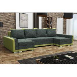 Rohová sedačka MADRYT U, černá látka/zelená látka