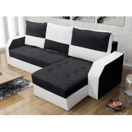 Rohová sedačka ARO, černá látka/bílá ekokůže