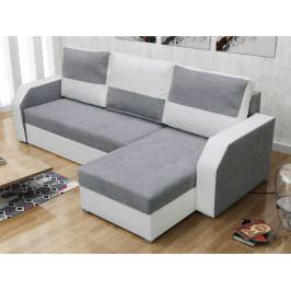 Smartshop Rohová sedačka ARO, světle šedá látka/bílá ekokůže