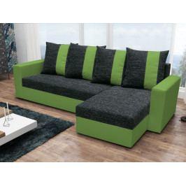 Rohová sedačka PRAGA, černá látka/zelená látka