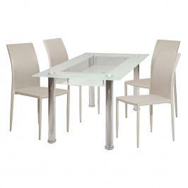 Jídelní stůl VENEZIA + 4 židle PARMA béžová