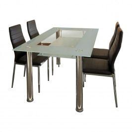 Jídelní stůl VENEZIA + 4 židle MILÁNO hnědá