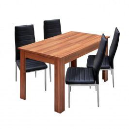 Jídelní stůl rozkládací 61605 + 4 židle MILÁNO černá