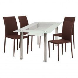 Jídelní stůl VENEZIA + 4 židle PARMA hnědá