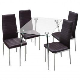 Jídelní stůl GRANADA + 4 židle MILÁNO hnědá