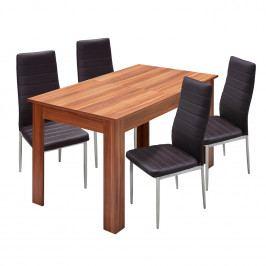Jídelní stůl rozkládací 61605 + 4 židle MILÁNO hnědá