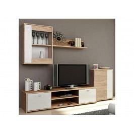 GENTA obývací stěna, dub sonoma / bílá